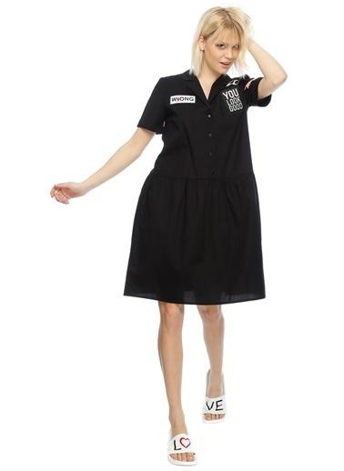 T-Box Kısa Kollu Midi Elbise Siyah